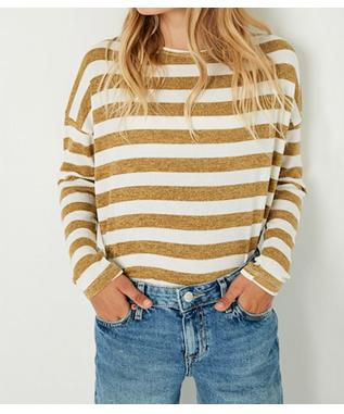 Girls Drop Shoulder Stripe Knit Top