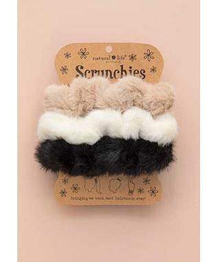 CREAM BLACK SET OF 3 FUZZY SCRUNCHIES
