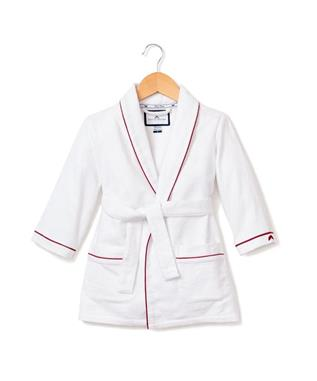 White Flannel Robe with Red Piping