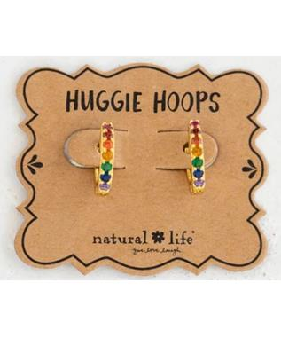 Rainbow Huggie Hoop Earrings