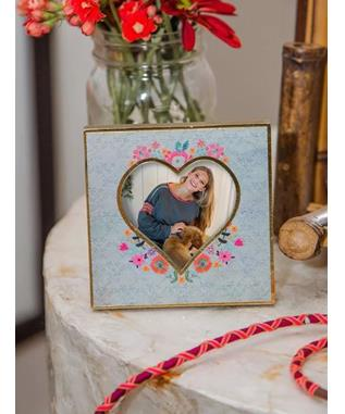 Turquoise Floral Heart Photo Frame