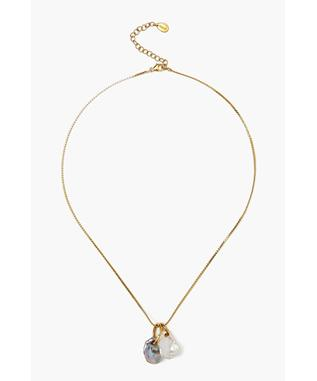 GOLD TWO PEARL DROP NECKLACE