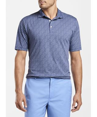 BLUE FRONDS AQUA COTTON POLO