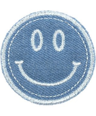 PUFFY BLUE SMILEY PATCH