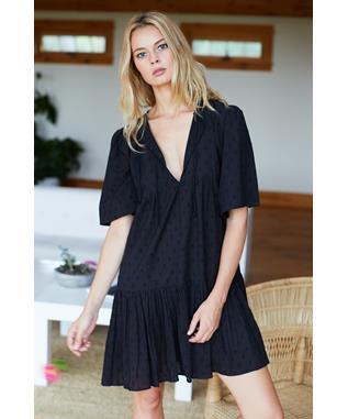 ISLA DRESS BLACK SWISS DOTS