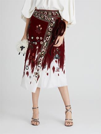 Embroidered Degrade Velvet and Wool Flannel Wrap Skirt  Claret Multi