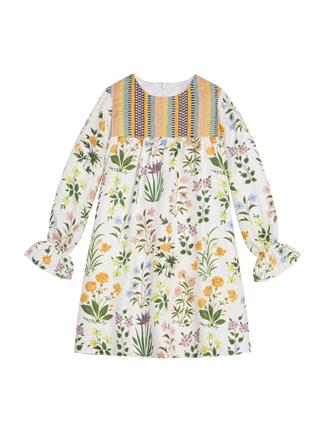 Embroidered Silk-Twill Dress  White Multi