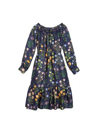 Embroidered Silk-Twill Dress  Navy Multi