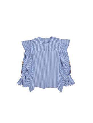 Ruffle Embroidered Cotton Blouse  White/Blue