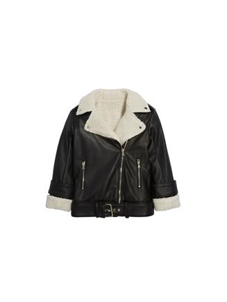 Shearling and Leather Moto Jacket  Black