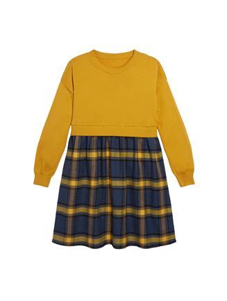 Merino and Flannel Dress  Saffron