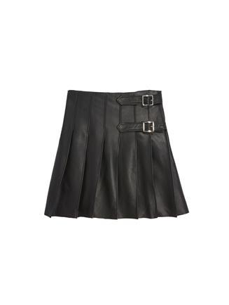 Leather Pleated Skirt  Black