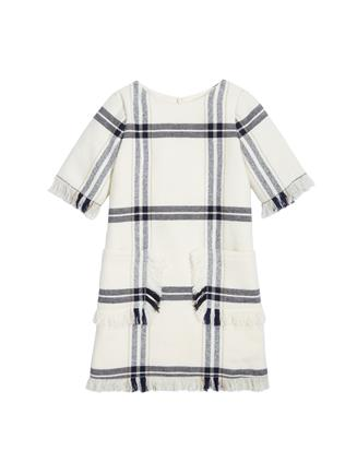 Fringed Wool Plaid Dress  Ivory Multi