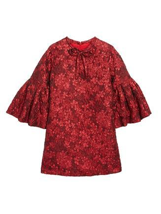 Flower Metallic Jacquard Dress  Red