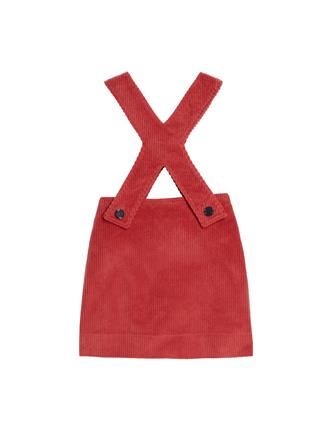 Corduroy Overall Dress  Coral