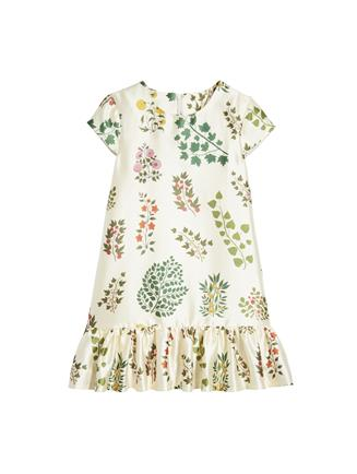 Botanical Branches Mikado Drop-Waist Dress  Camel Multi