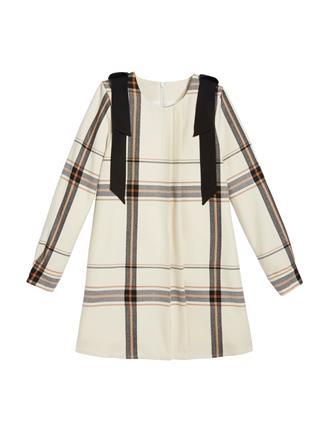 Plaid Flannel Dress  Ivory Multi