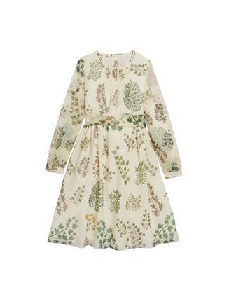 Botanical Branches Silk-Chiffon Dress  Camel