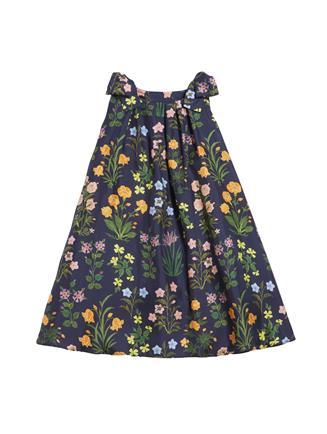 Flowers and Stems Silk-Twill Dress  Navy Multi