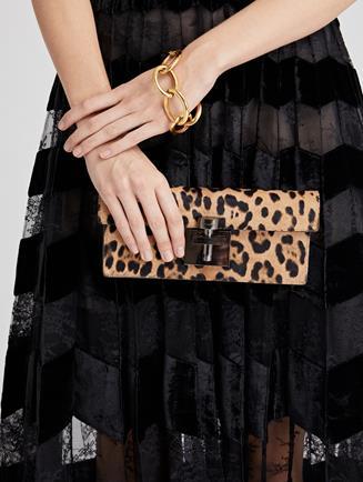 Leopard Calf Hair Alibi Clutch   Black/Camel