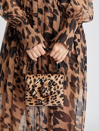 Leopard Calf Hair Mini TRO Bag  Black/Camel