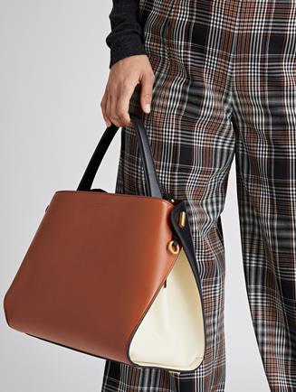 Two Tone Leather Nolo Bag Black/Cognac