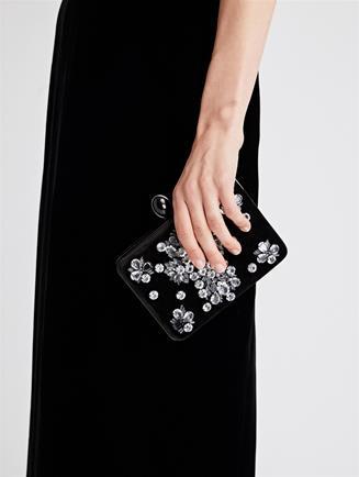 Embellished Velvet Rogan Clutch  Black
