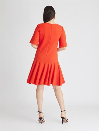 Stretch-Wool Crepe Trumpet Dress  Cayenne