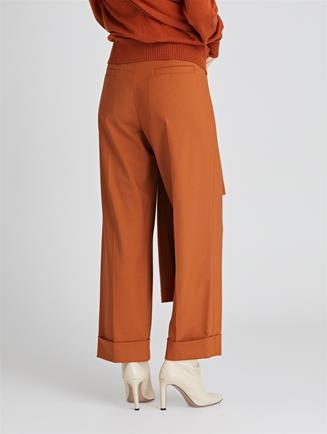 Stretch-Wool Gabardine Wide-Leg Pants  Cumin