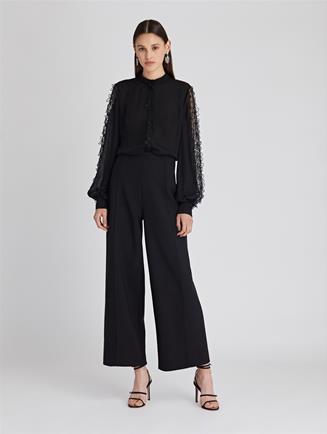Stretch-Wool Flannel Wide-Leg Pants  Charcoal