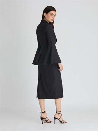 Stretch-Wool Flannel Pencil Skirt  Charcoal
