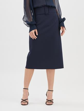 Double Face Stretch-Wool Pencil Skirt  Navy