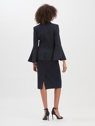 Shimmer Wool Pencil Skirt  Dark Navy