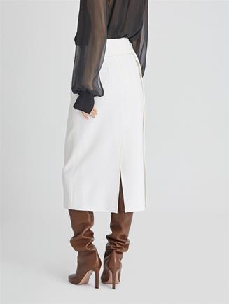 Stretch-Wool Cady Pencil Skirt  Ivory