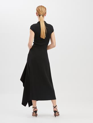 Asymmetric Stretch-Wool Crepe Skirt  Black
