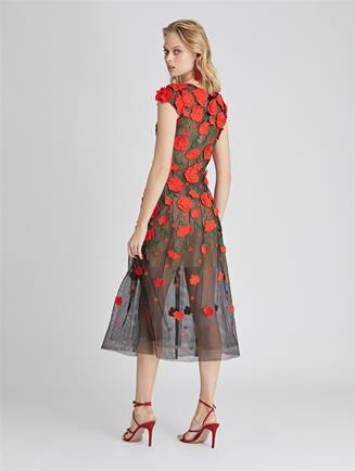 Carnation Embroidered Tulle Cocktail Dress Cayenne/Black