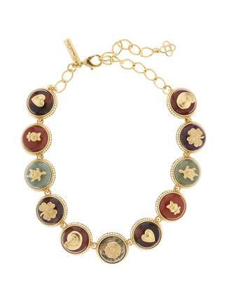 Semiprecious Disk Necklace  MULTI