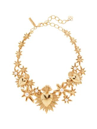 Sacred Heart and Star Necklace  Gold