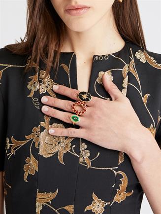 Double Finger Ring  Gold Multi
