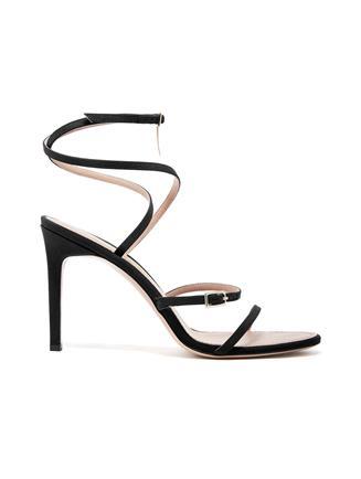 Silk Crepe de Chine Ruby Asymmetric Sandals Black