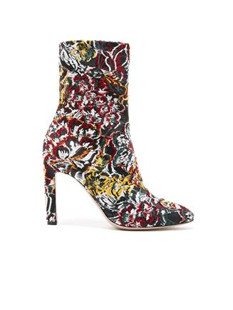 Floral Fil Coupé Rugby Ankle Boot Black Multi