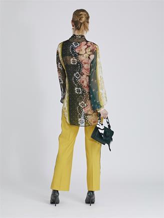 Embroidered Stretch-Wool Gabardine Pants Ochre