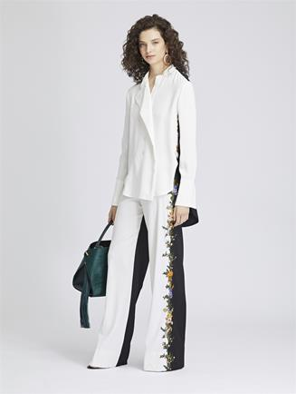 Embroidered Stretch-Wool Gabardine Pants Ivory