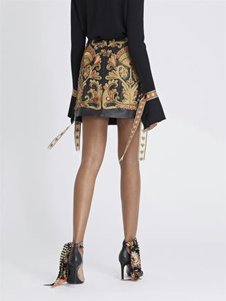 Embroidered Leather Skirt Black/Bronze