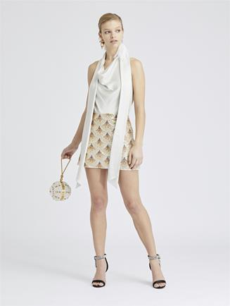 Fan-Embellished Silk-Georgette Skirt Ivory/Gold