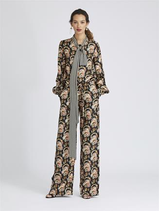 Tapestry Floral and Stripey Dots King Twill Jumpsuit Black Multi