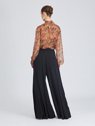 Stretch-Crepe Sable Wide-Leg Pants Black