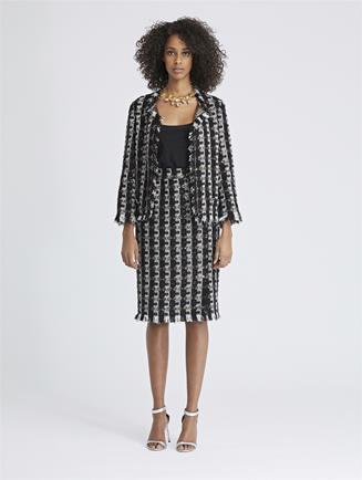 Sequin Stripes Tweed Pencil Skirt Black
