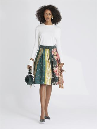Patchwork Stripe Silk Tussah Skirt Spruce Multi