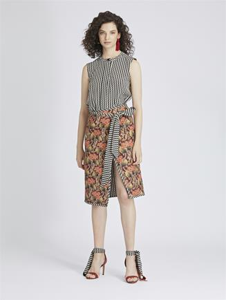 Art Deco Floral King Twill and Stripey Dots Wrap Skirt Black Multi